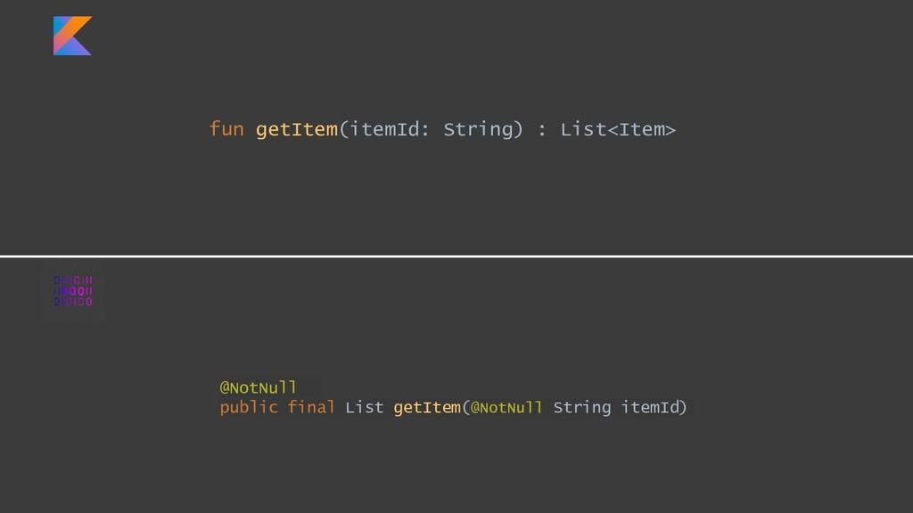 fun getItem(itemId: String) : List<Item> @NotNu...