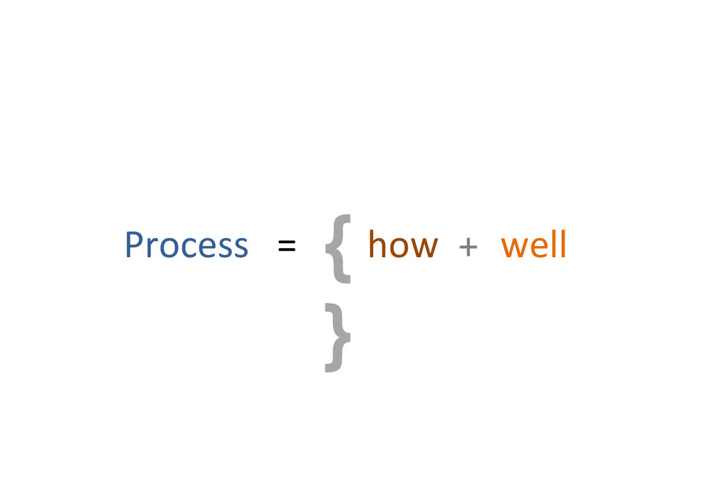 { } Process%%%=% how% +% well%
