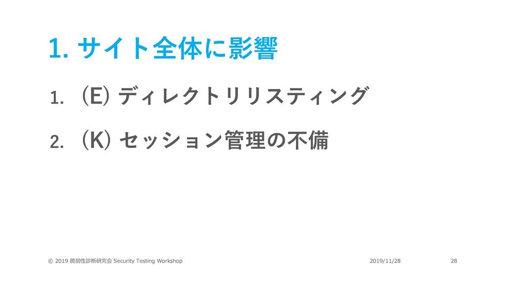 1. サイト全体に影響 1. (E) ディレクトリリスティング 2. (K) セッション管理の...