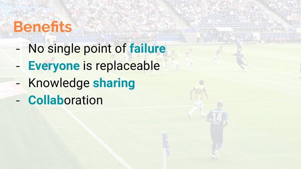 Benefits - No single point of failure - Everyone...