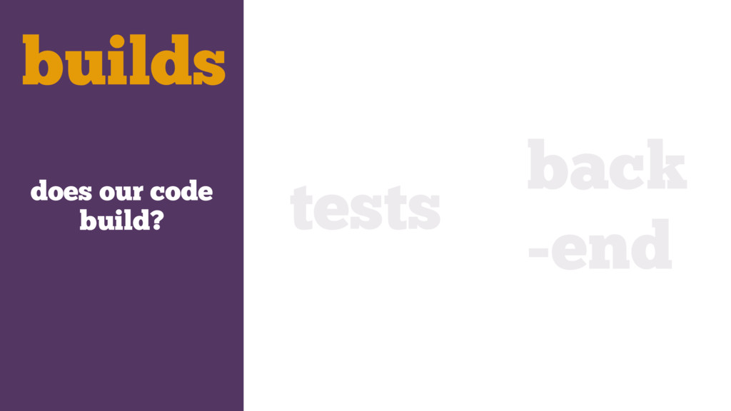 does our code build? tests back -end builds