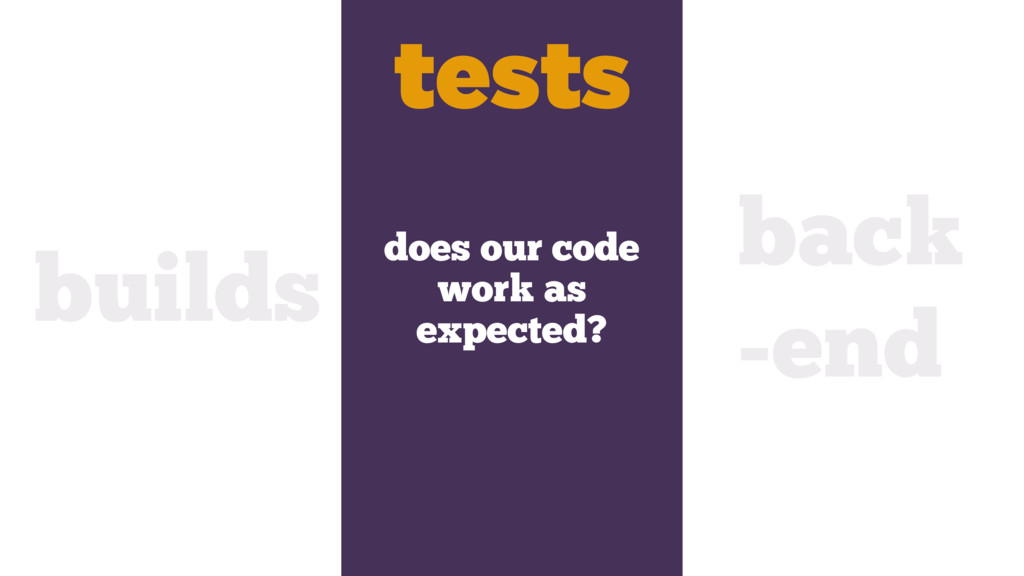 does our code work as expected? builds tests ba...