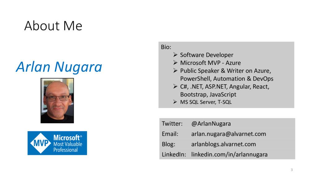 About Me Twitter: @ArlanNugara Email: arlan.nug...
