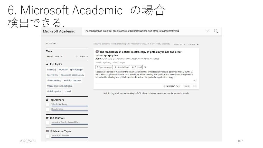 6. Microsoft Academic の場合 検出できる. 2020/5/21 107