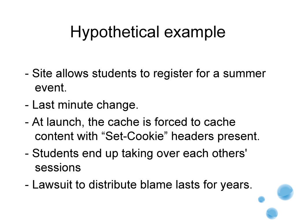 Hypothetical example - Site allows students to ...