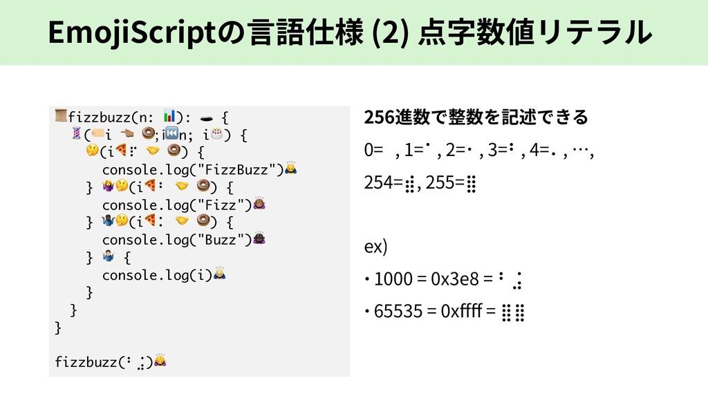 EmojiScriptの⾔語仕様 (2) 点字数値リテラル fizzbuzz(n: ):  {...