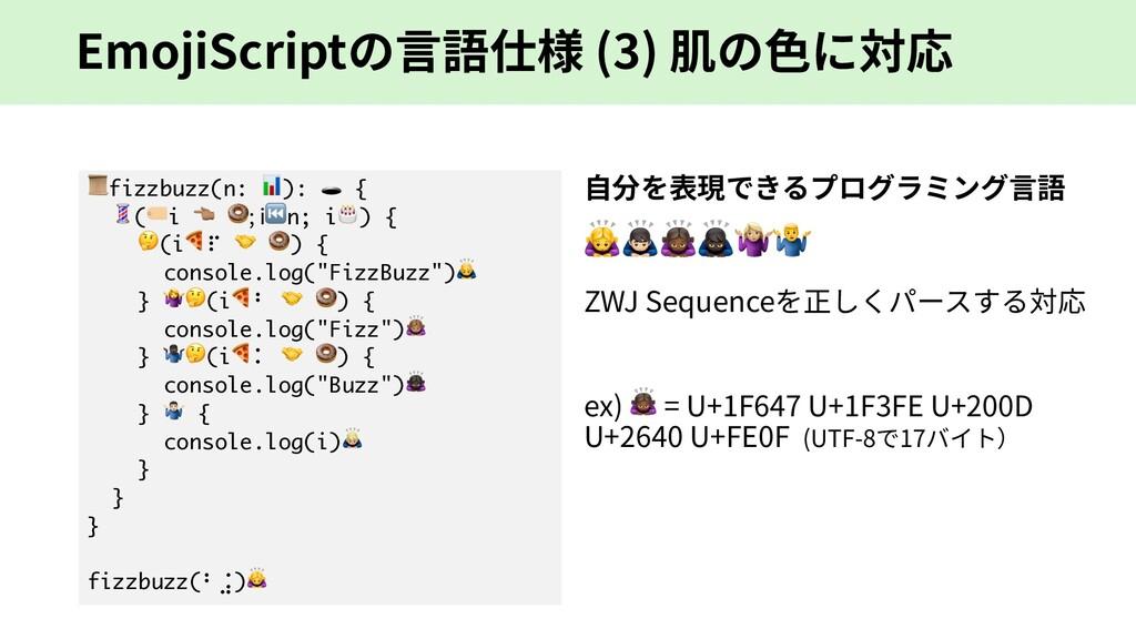 EmojiScriptの⾔語仕様 (3) 肌の⾊に対応 fizzbuzz(n: ):  { (...