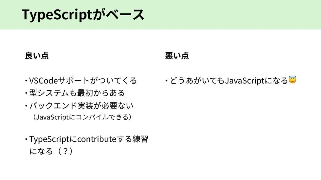 TypeScriptがベース 良い点 – VSCodeサポートがついてくる – 型システムも最...