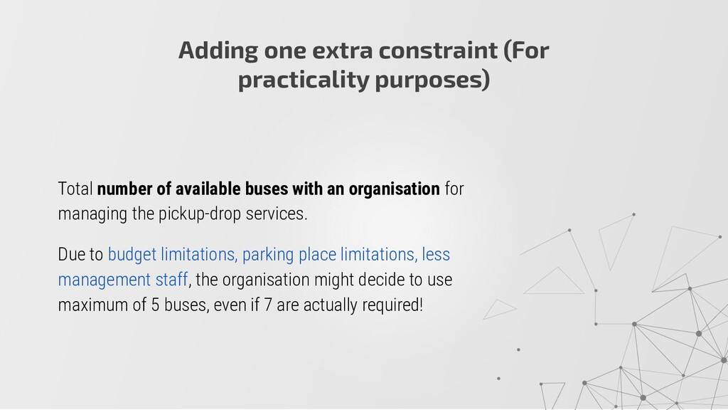 Total number of available buses with an organis...