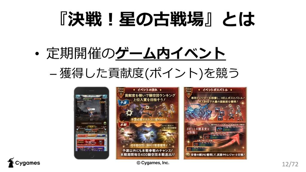 『決戦︕星の古戦場』とは • 定期開催のゲーム内イベント – 獲得した貢献度(ポイント)を競う...