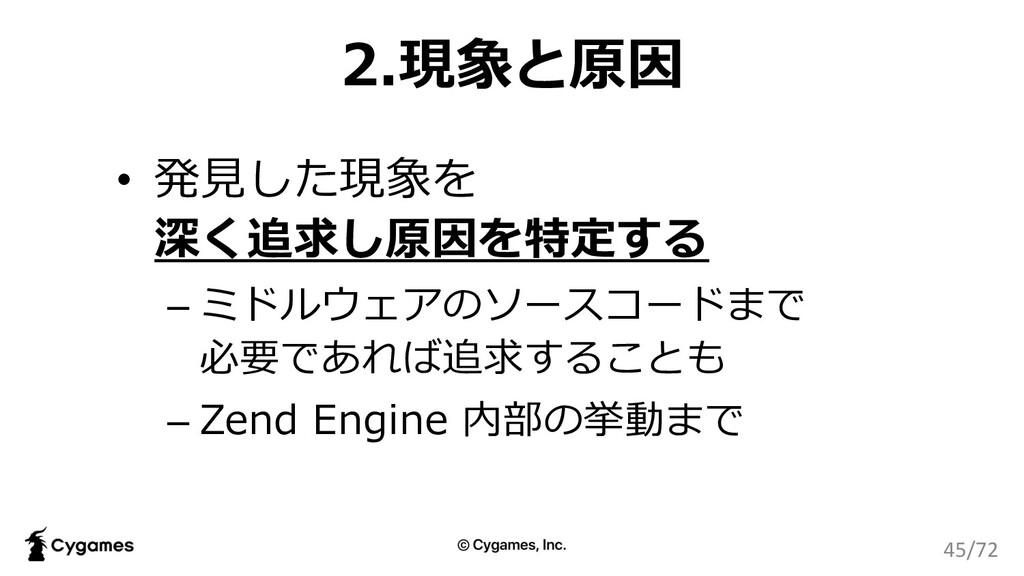 2.現象と原因 • 発⾒した現象を 深く追求し原因を特定する – ミドルウェアのソースコードま...