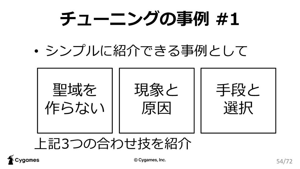 チューニングの事例 #1 • シンプルに紹介できる事例として 上記3つの合わせ技を紹介 聖域を...