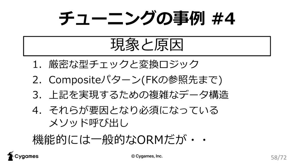 チューニングの事例 #4 1. 厳密な型チェックと変換ロジック 2. Compositeパター...