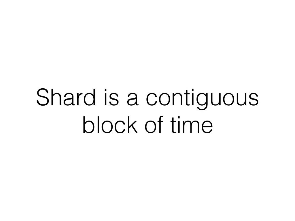 Shard is a contiguous block of time