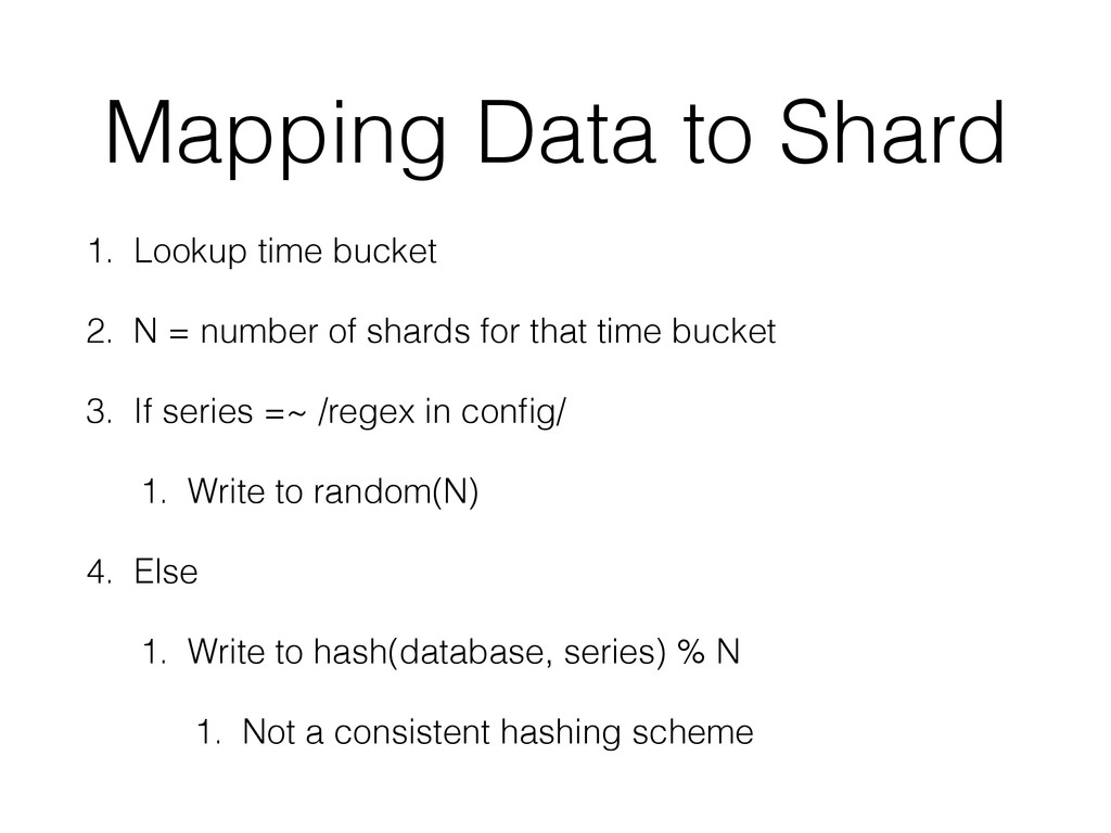 Mapping Data to Shard 1. Lookup time bucket 2. ...