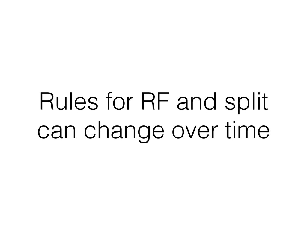 Rules for RF and split can change over time