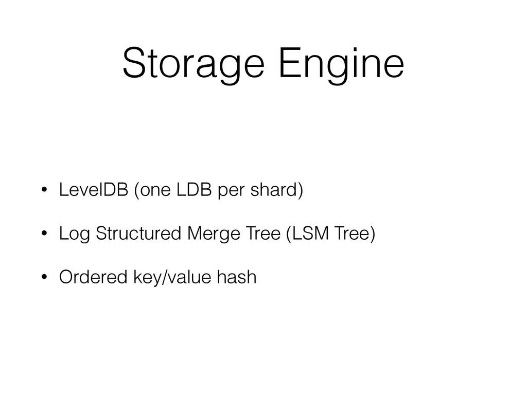 Storage Engine • LevelDB (one LDB per shard) • ...