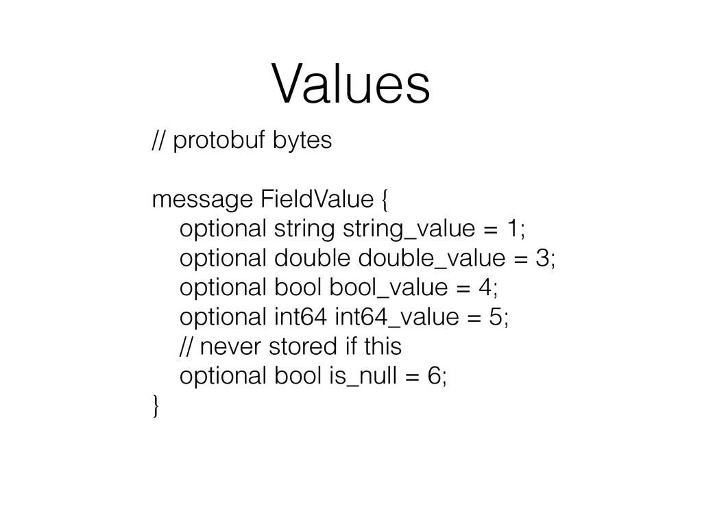 Values // protobuf bytes ! message FieldValue {...