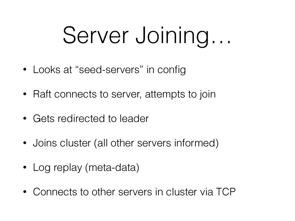 "Server Joining… • Looks at ""seed-servers"" in co..."