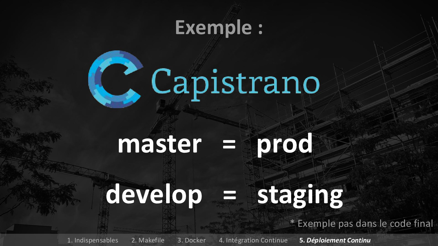 master = prod Exemple : develop = staging * Exe...