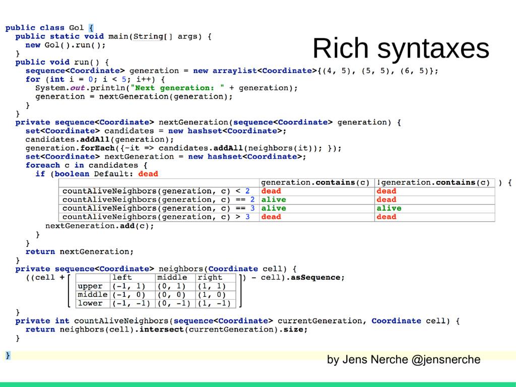 by Jens Nerche @jensnerche Rich syntaxes