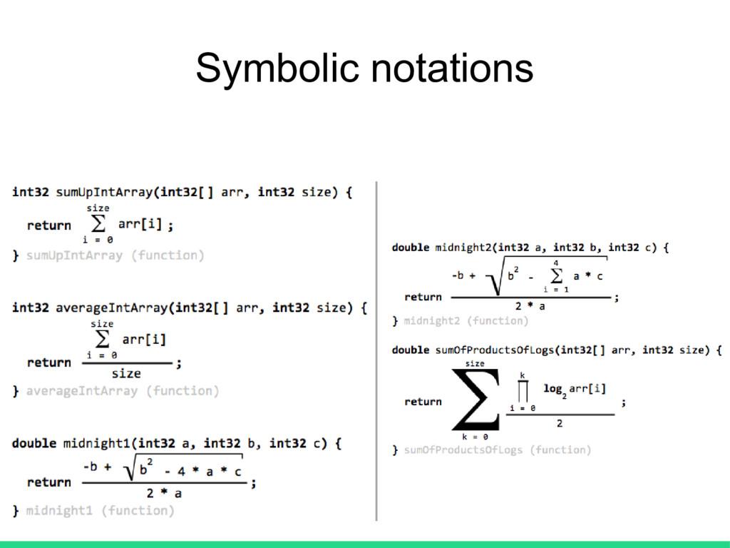 Symbolic notations