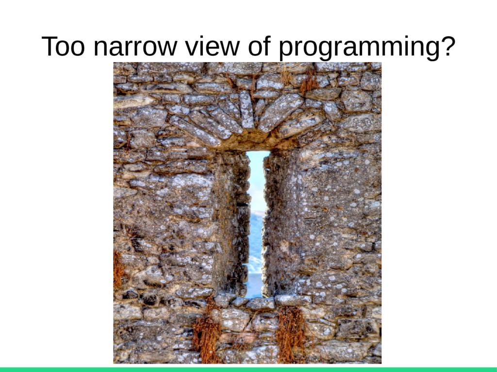 Too narrow view of programming?