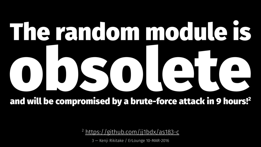 The random module is obsolete and will be compr...