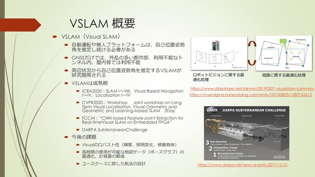 VSLAM 概要  VSLAM(Visual SLAM)  自動運転や無人プラットフォーム...