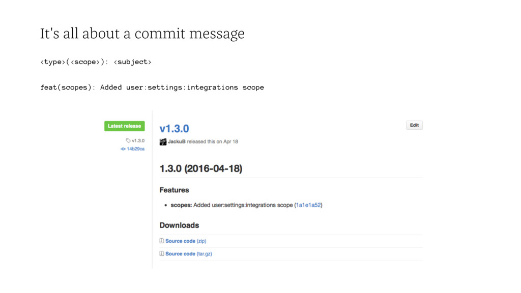 It's all about a commit message <type>(<scope>)...