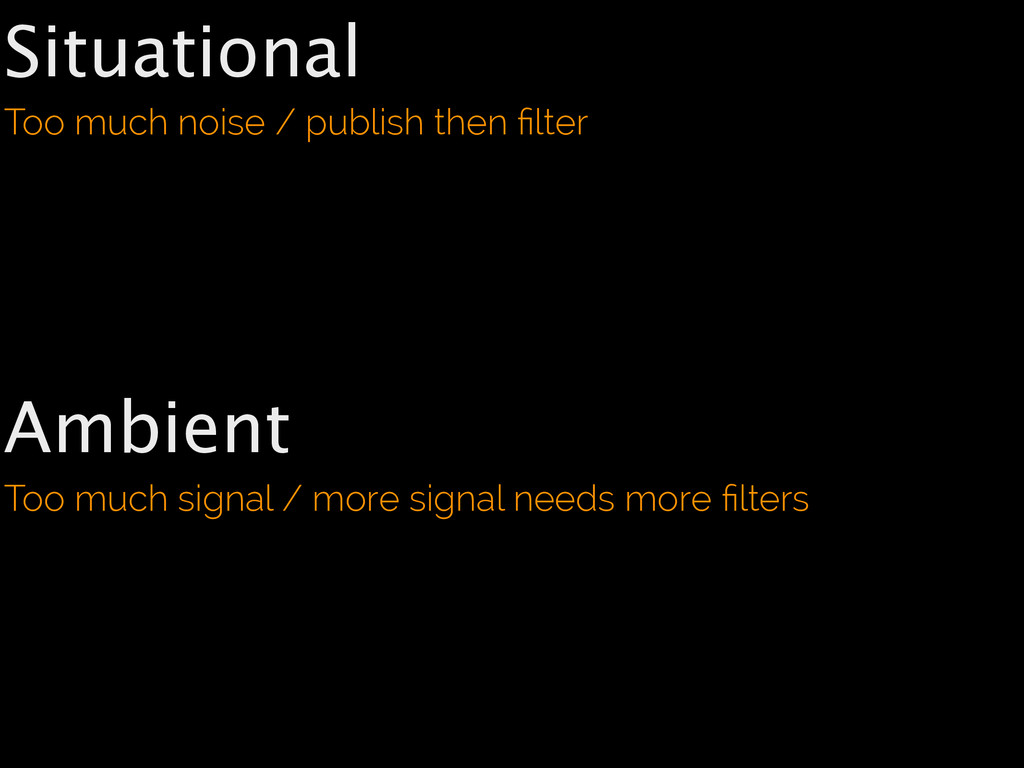Situational Too much noise / publish then filter...
