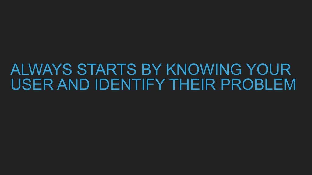 ALWAYS STARTS BY KNOWING YOUR USER AND IDENTIFY...