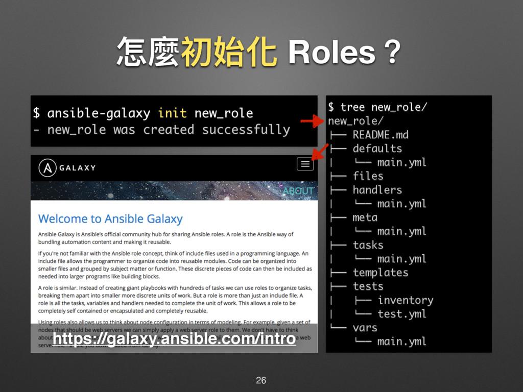 ெ讕ڡত玕 Roles牫 26 $ ansible-galaxy init new_role ...