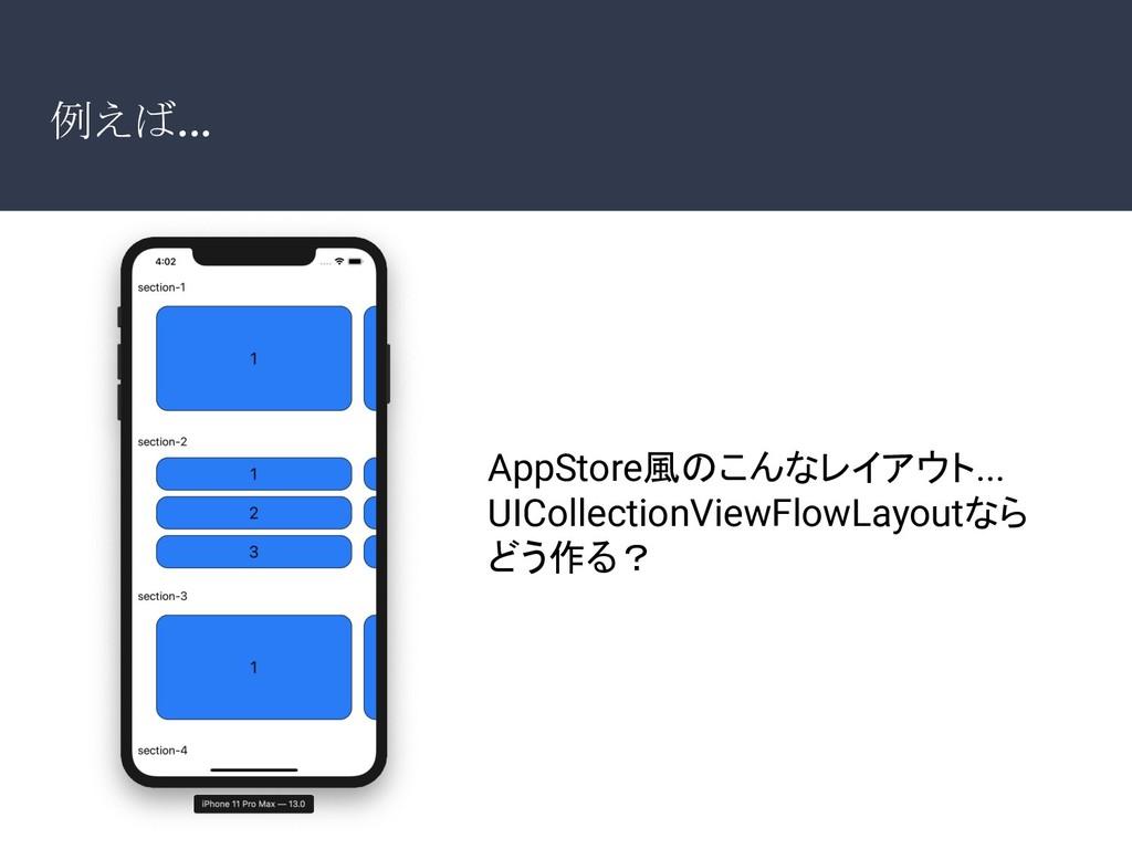 例えば... AppStore風のこんなレイアウト... UICollectionViewFl...