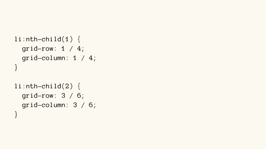 li:nth-child(1) { grid-row: 1 / 4; grid-column:...