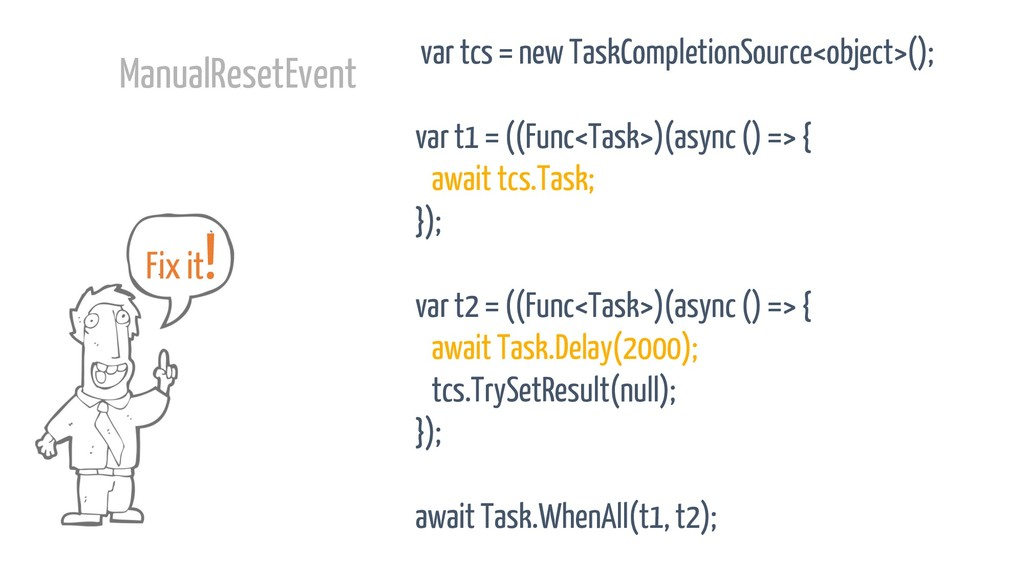 var tcs = new TaskCompletionSource<object>(); v...