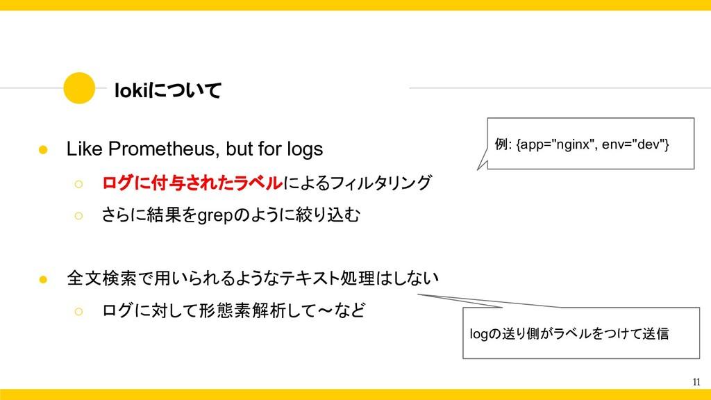 11 ● Like Prometheus, but for logs ○ ログに付与されたラベ...