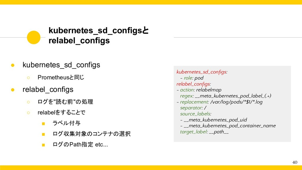 kubernetes_sd_configsと relabel_configs 40 ● kub...