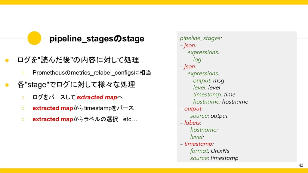 """pipeline_stagesのstage 42 ● ログを""""読んだ後""""の内容に対して処理 ○..."""