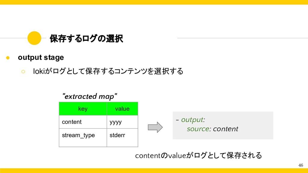 保存するログの選択 46 ● output stage ○ lokiがログとして保存するコンテ...