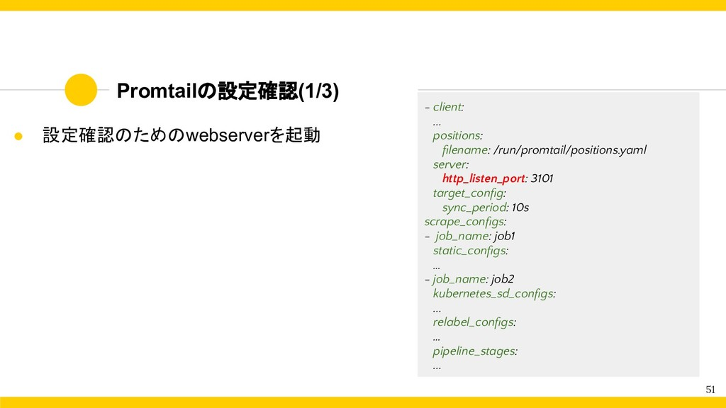 Promtailの設定確認(1/3) 51 - client: ... positions: ...