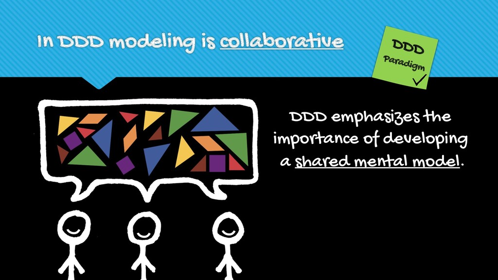 In DDD modeling is collaborative DDD emphasizes...