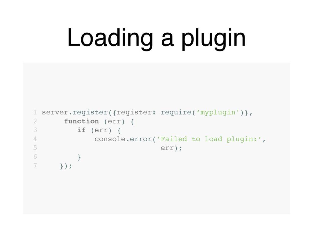 Loading a plugin 1 server.register({register: r...