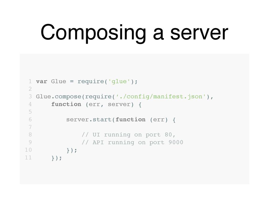 Composing a server 1 var Glue = require('glue')...