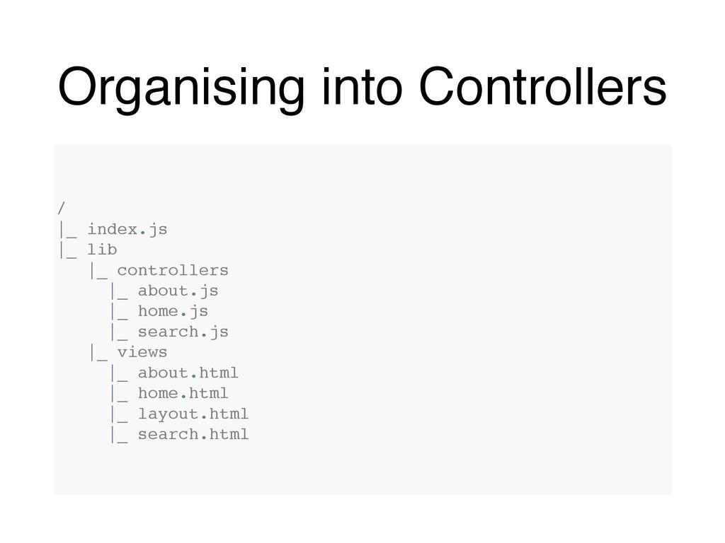 Organising into Controllers / |_ index.js |_ li...