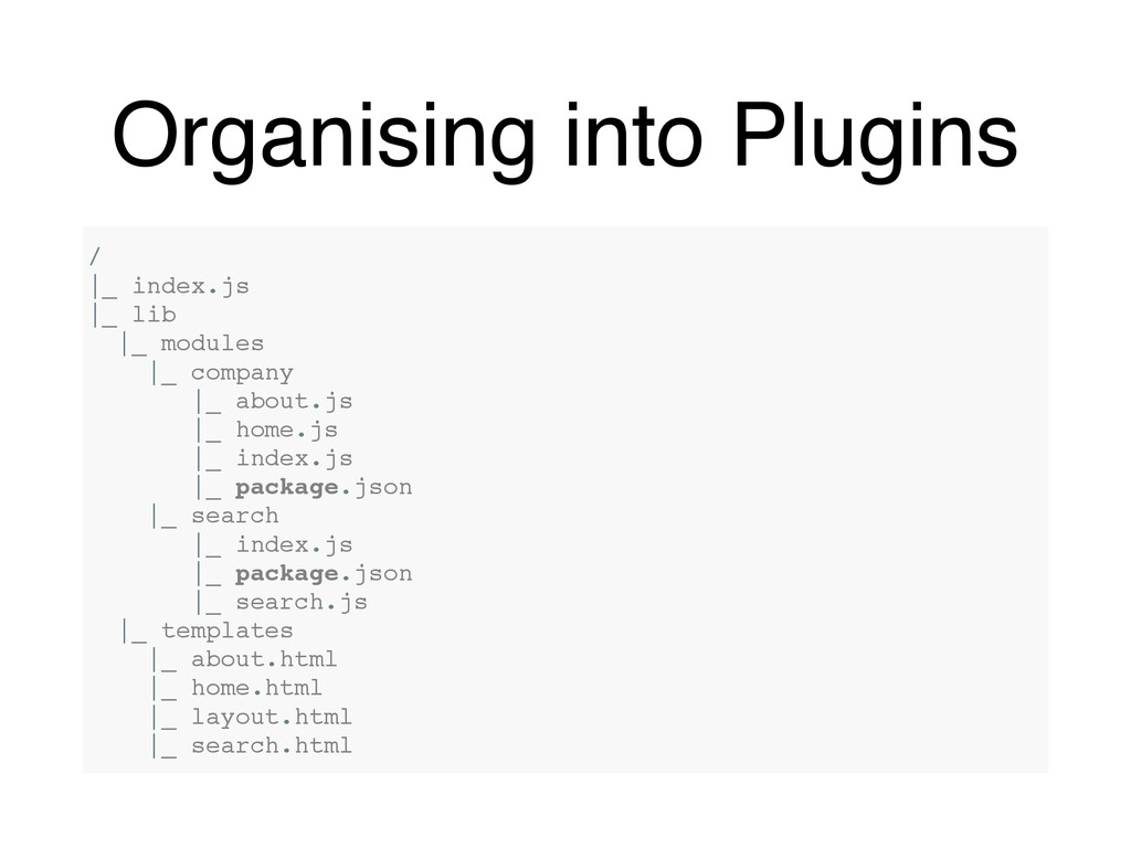 Organising into Plugins / |_ index.js |_ lib |_...