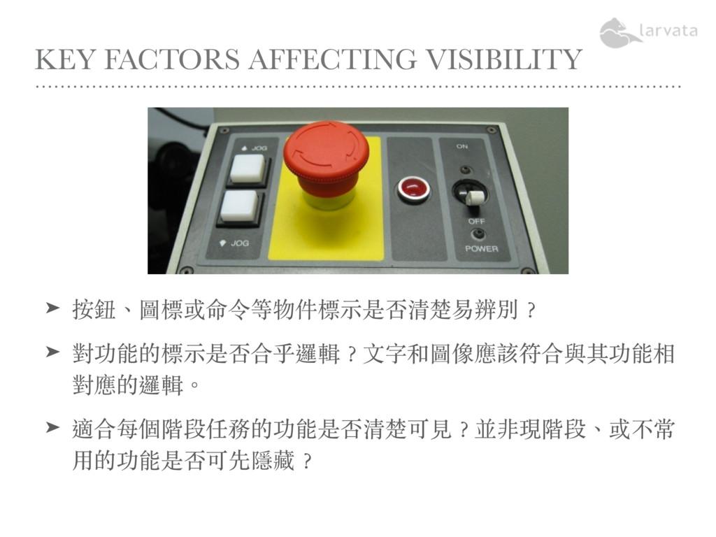 KEY FACTORS AFFECTING VISIBILITY ➤ 按鈕、圖標或命令等物件標...