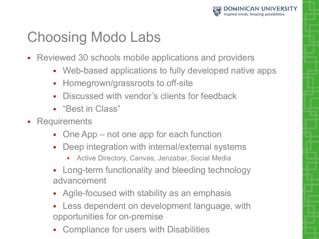 Choosing Modo Labs § Reviewed 30 schools mobile...