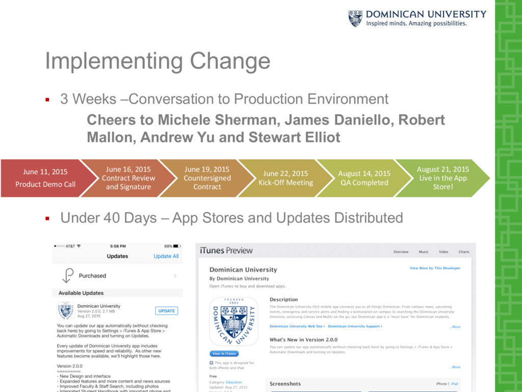 Implementing Change § 3 Weeks –Conversation to ...