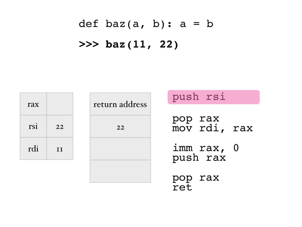 push rsi pop rax mov rdi, rax def baz(a, b): a ...